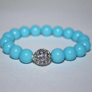 "Blue and rhinestone bracelet 7"""